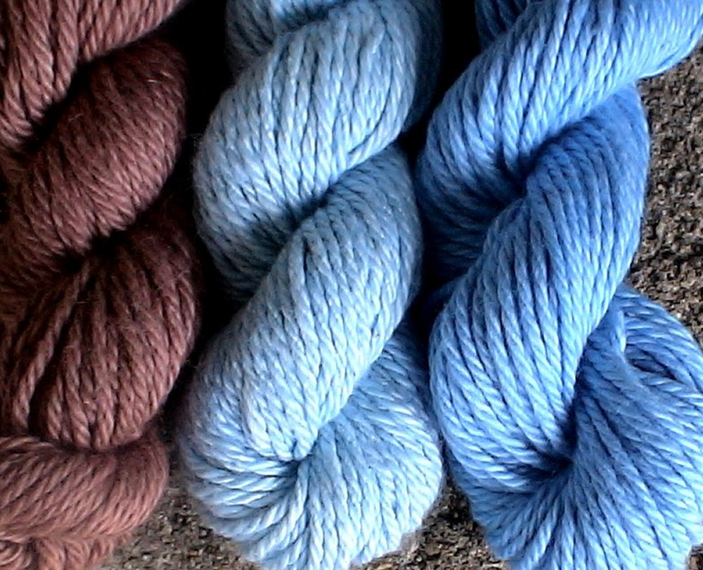 Brown and blue yarn colors