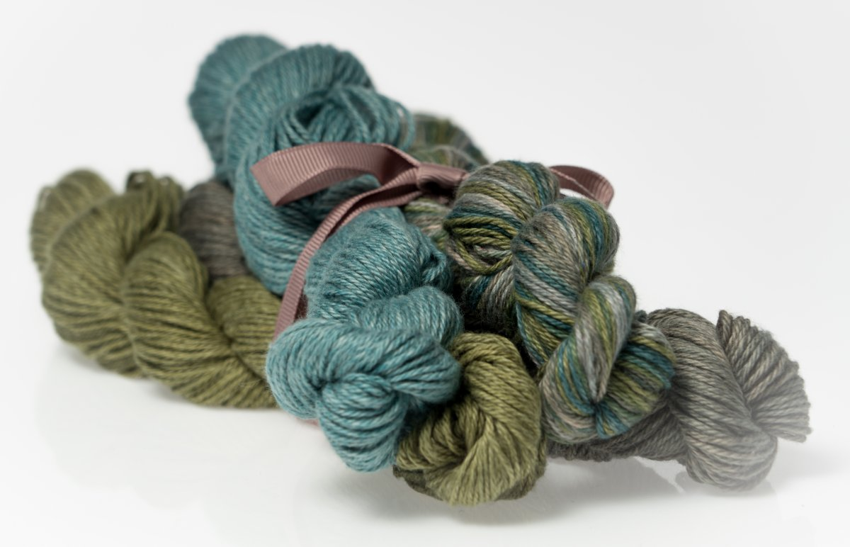 Heather Fingering Gray and Green Colorway