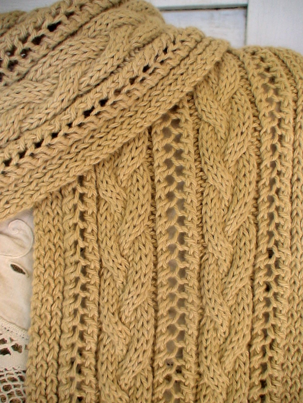 Cable Knit Scarf Pattern : Cable and Lace Hooded Scarf