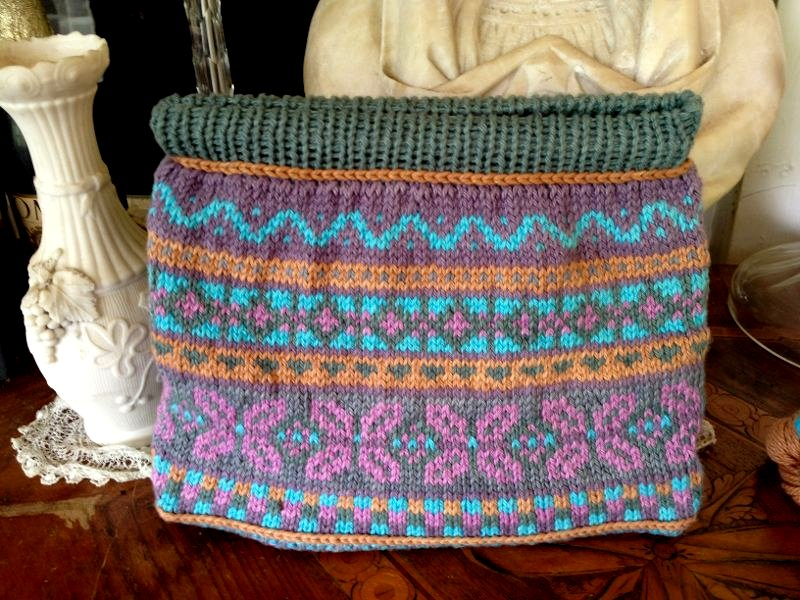 Knitted Fair Isle Bag turquoise, pink, gray