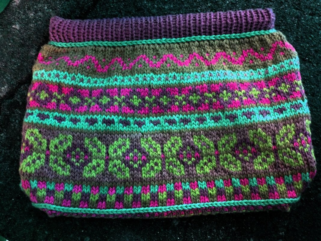 Knitted Fair Isle Bag fuchsia, cayman, granny apple