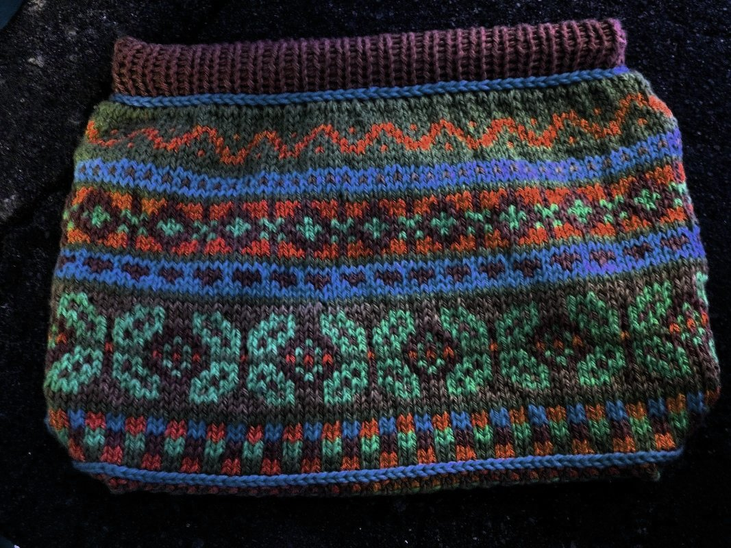 Knitted Fair Isle Bag gold, purple, turquoise