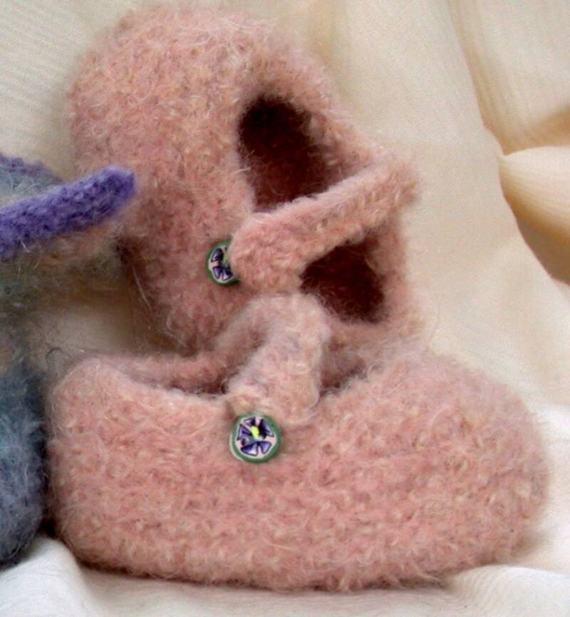 Felted Mary Jane Baby Booties