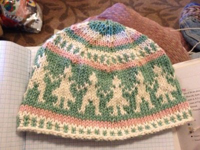 Fair Isle Knitted People Hat Pink and green