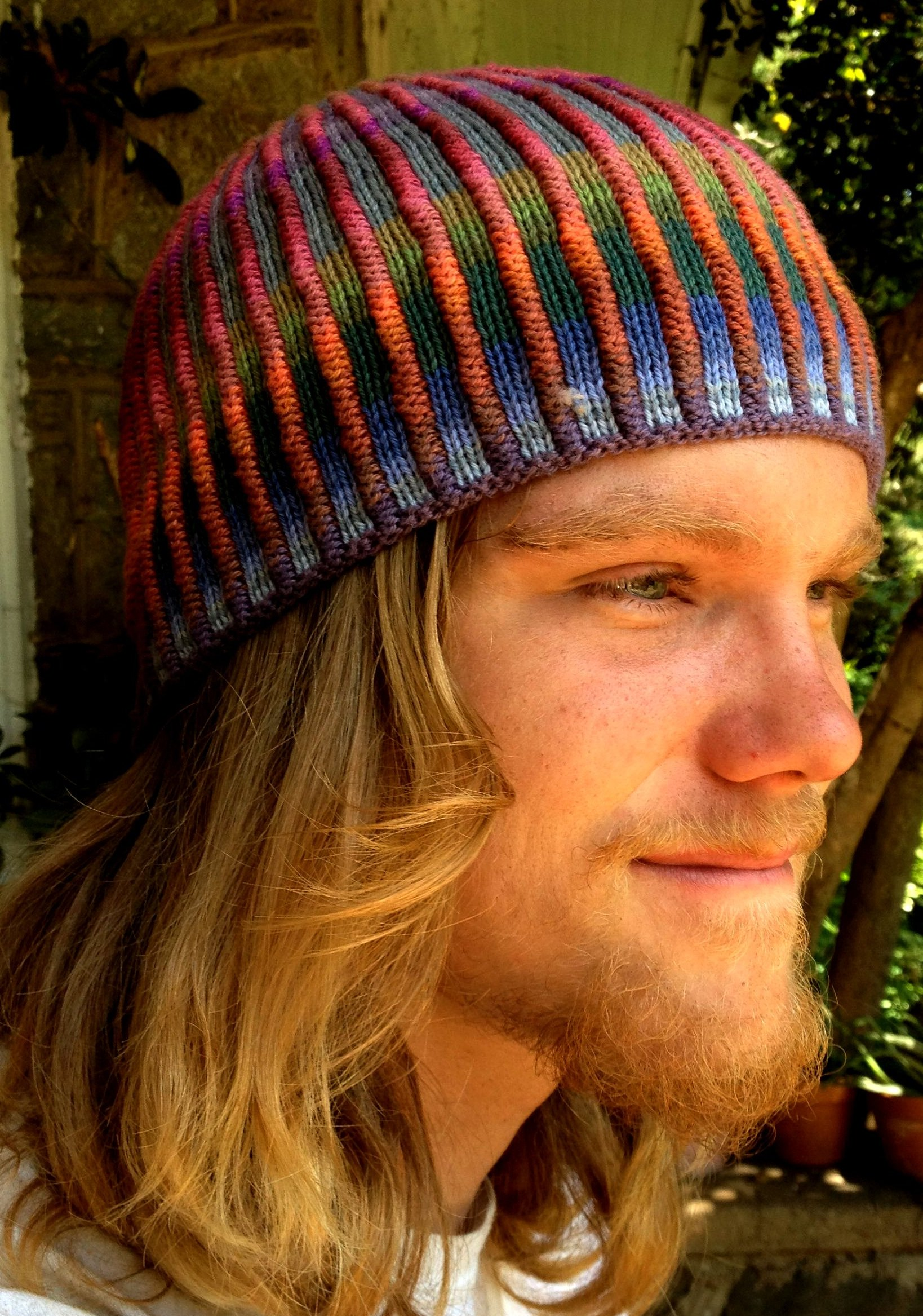 Colorful Ribbed Hat Knitting Project